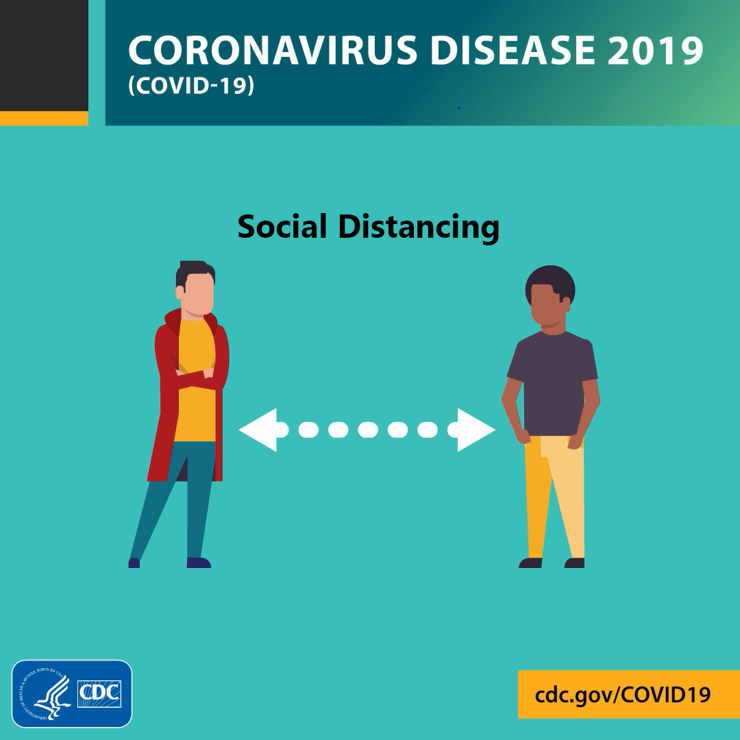 "This image shows two cartoon figures standing at some distance from one another. A double-headed arrow separates the figures, and ""Social Distancing"" is written above them; social distancing is very important to slow the spread of COVID-19. The image is provided by the CDC and bears the agency's logo."
